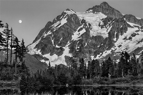 Moon Over Mt Shuksan