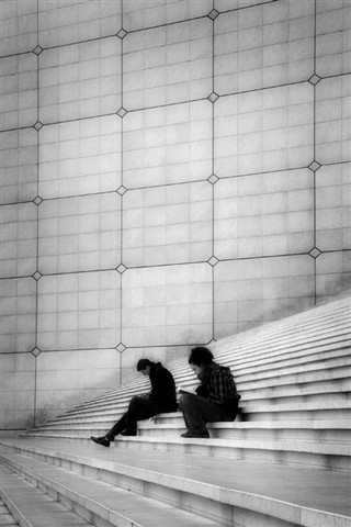 Readers on the stairs