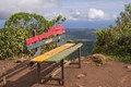 A bench on the highest mountain (828 m) of Mauritius.