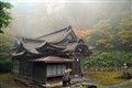 Japanese mountain shrine in the ever-present fog
