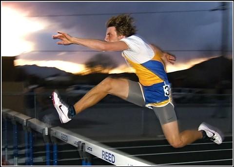 2013 Nevada NIAA HS Track & Field / 300m Hurdles - South Tahoe - Branden Cramer