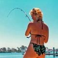 Carole fishing in Newport Bay Ca