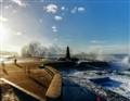 Holiday salut by Atlantic ocean