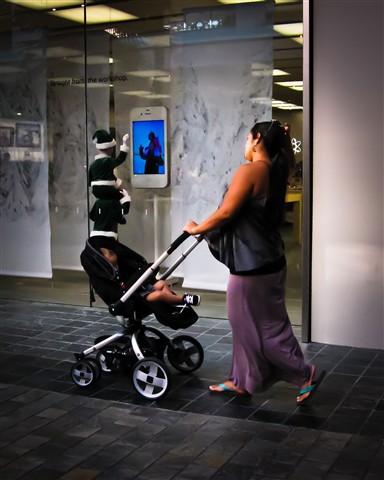 Pushing Baby Stroller