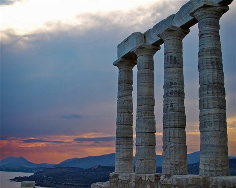 Temple of Poseidon with View (Cape Sounio, Greece)