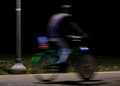 the bike moving in the night