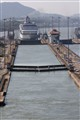 Ship Sails Through Panama Canal