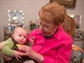 Great grandma meets 3 month old newest family member