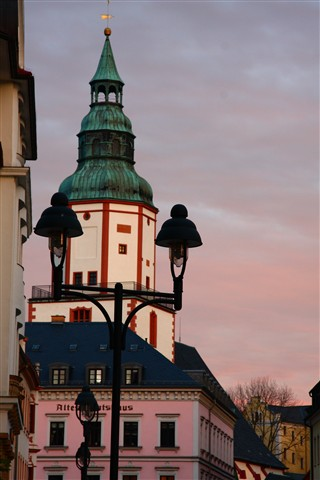 0099 Turm Nicolaikirche im Abendrot