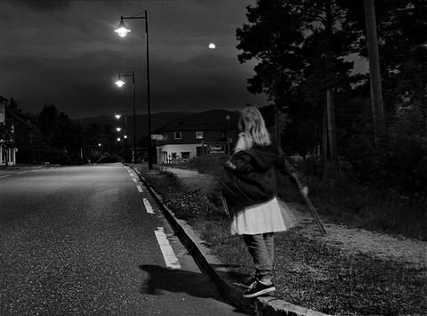Milla with a Stick, Looking at the Moon_BW