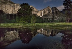 Yosemite Falls Midnight Reflection