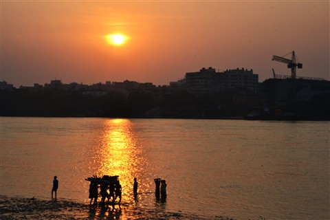 Sunset at the Hooghly riverside