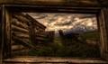Tetons through the Shane Cabin Window