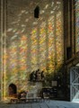 Treguier cathedral, reflection of the window