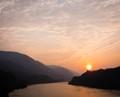 Foggy sunset over the Columbia River - Bridge of the Gods, Cascade Locks, Oregon