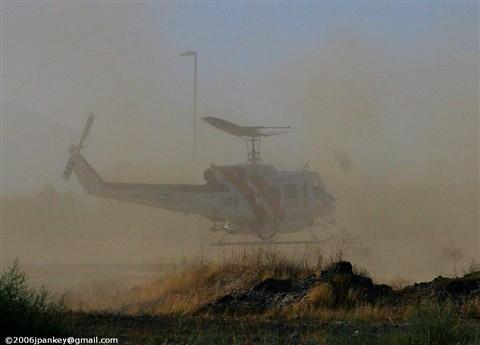 firefighting helo in smoke