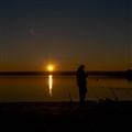 Lake fishing at Sunset