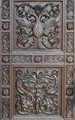Fragment of the carved wooden door of the chapel of Alexander Nevsky