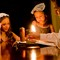 Havdallah candle with girls and dad