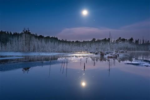 Full moon on Goshin Pond