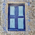 blue old window