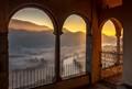 Dawn on Adda River valley from Santuario della Rocchetta, Airuno, N Italy