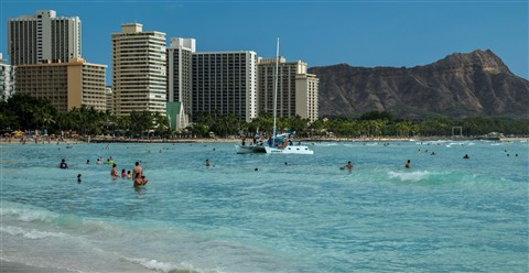 Waikiki Beach with the Kit Zoom at 41 mm