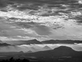White Haze in Dusk Mountains BW