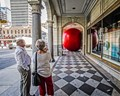 Red Ball Project - Celebration of Canada 150 Calgary Alberta, The Hudson's Bay store downtown 8th Ave and 1st S.W.