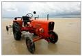 An orange tractor