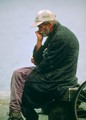Old Man sitting on park bench, Vancouver, Canada