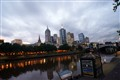 Evening view from the bank of Yarra river