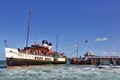 Steam powered paddle steamer - SS Waverley sets sail in the Solent