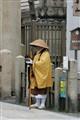 Monk in front of Shitennō-ji temple in Osaka, Japan