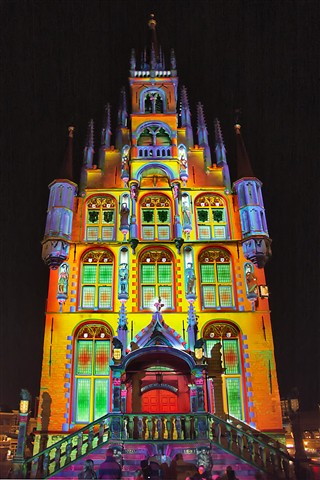 Colourful town hall of Gouda