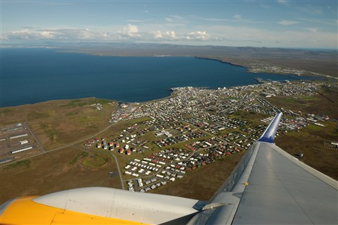 Take off from Keflavik airport, Iceland.