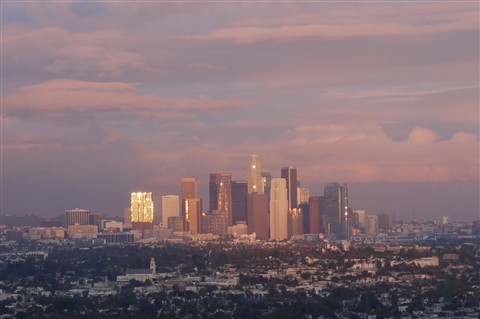 Downtown Los Angeles at Sundown after Rain