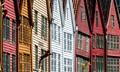 Wooden buildings on the old wharf Bryggen in Bergen, Norway
