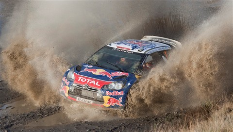 Sebatian Loeb, newly crowned world champion and in the lead at this point