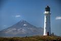 Mt Taranaki and lighthouse 2