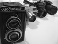 Retro cameras: * the first one is from late 40's, twin-lens reflex; * the second from 50's, range-finder; * third - mid of 80's, single-lens reflex; * next - 2010's, digital prosumer;