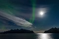 Full moon and northern lights