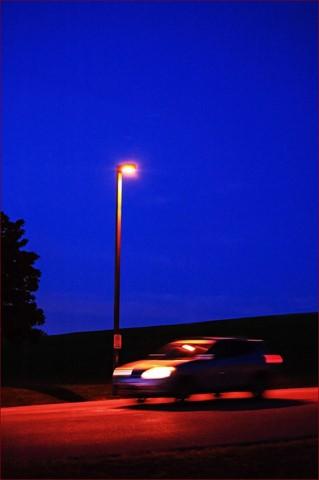 blue sky and street light