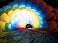 Inside an inflating hot air balloon