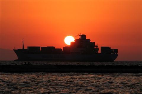 Cargo ship in Izmir Bay