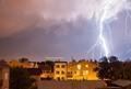 landing aircraft and lightning