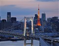 Tokyo Tower and Rainbow Bridge at dusk