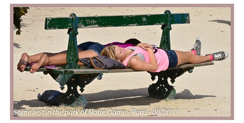Some rest in the park of Notre Dame- Paris