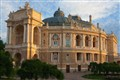 Odessa opera theatre at morning sunlight.