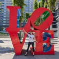 Recently I've noticed that in Robert Indiana's Love Sculpture there's an inverted Spade , in the letter V . There's also an arrow head between the letters O and L , which points to the inverted Spade . Model : @sofiatokyomodel
